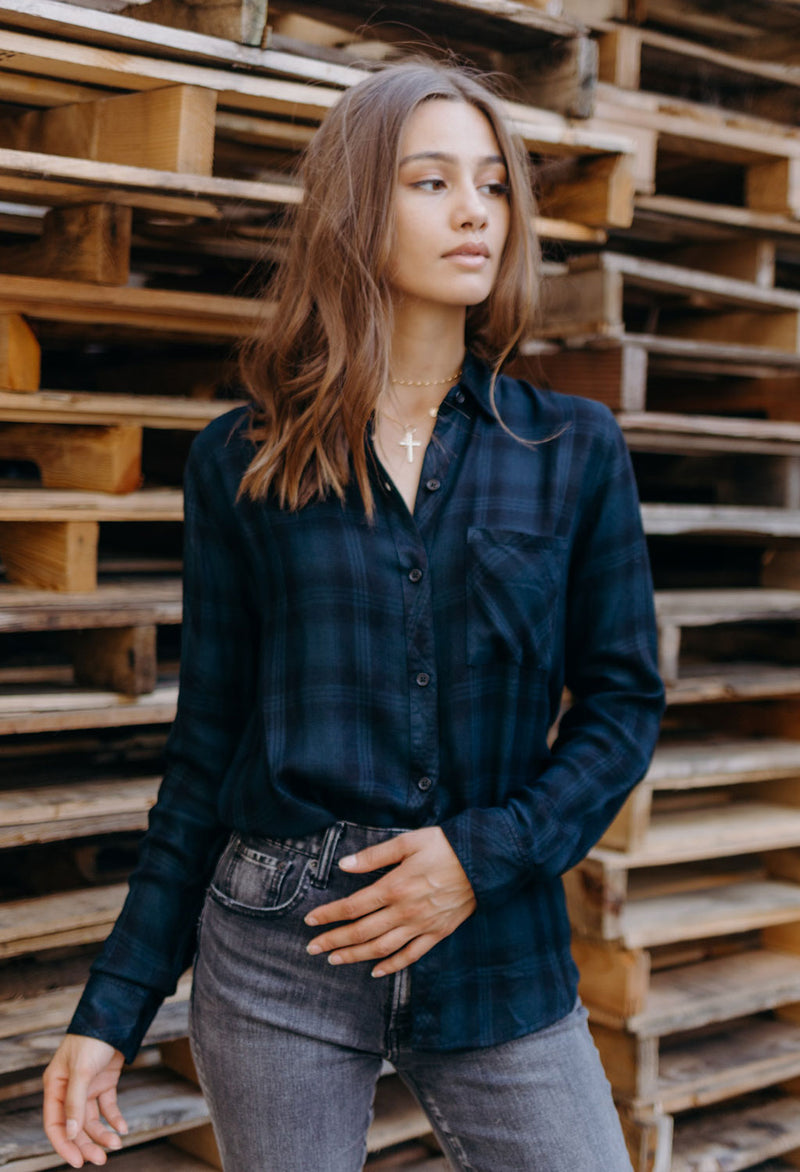 Rails Hunter Plaid Shirt, Black/Sacramento