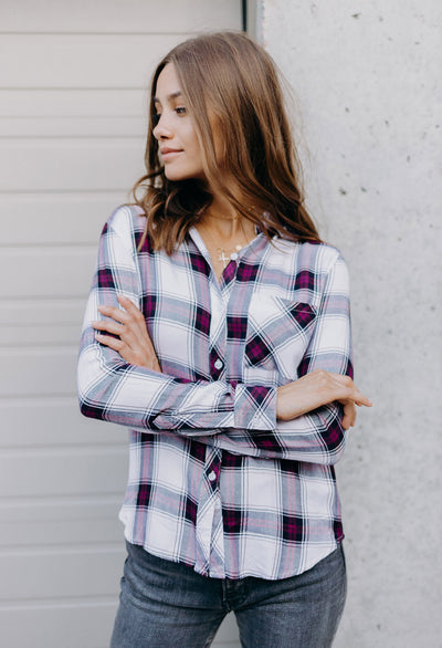 Rails Hunter Plaid Shirt, Plum Navy White - RUST & Co.