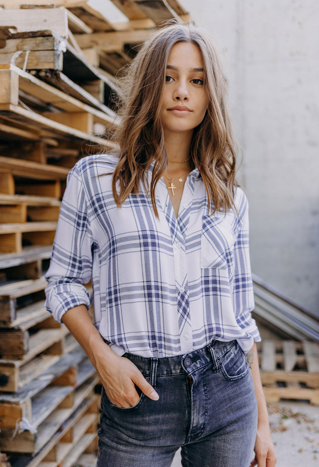 Rails Hunter White Storm Plaid