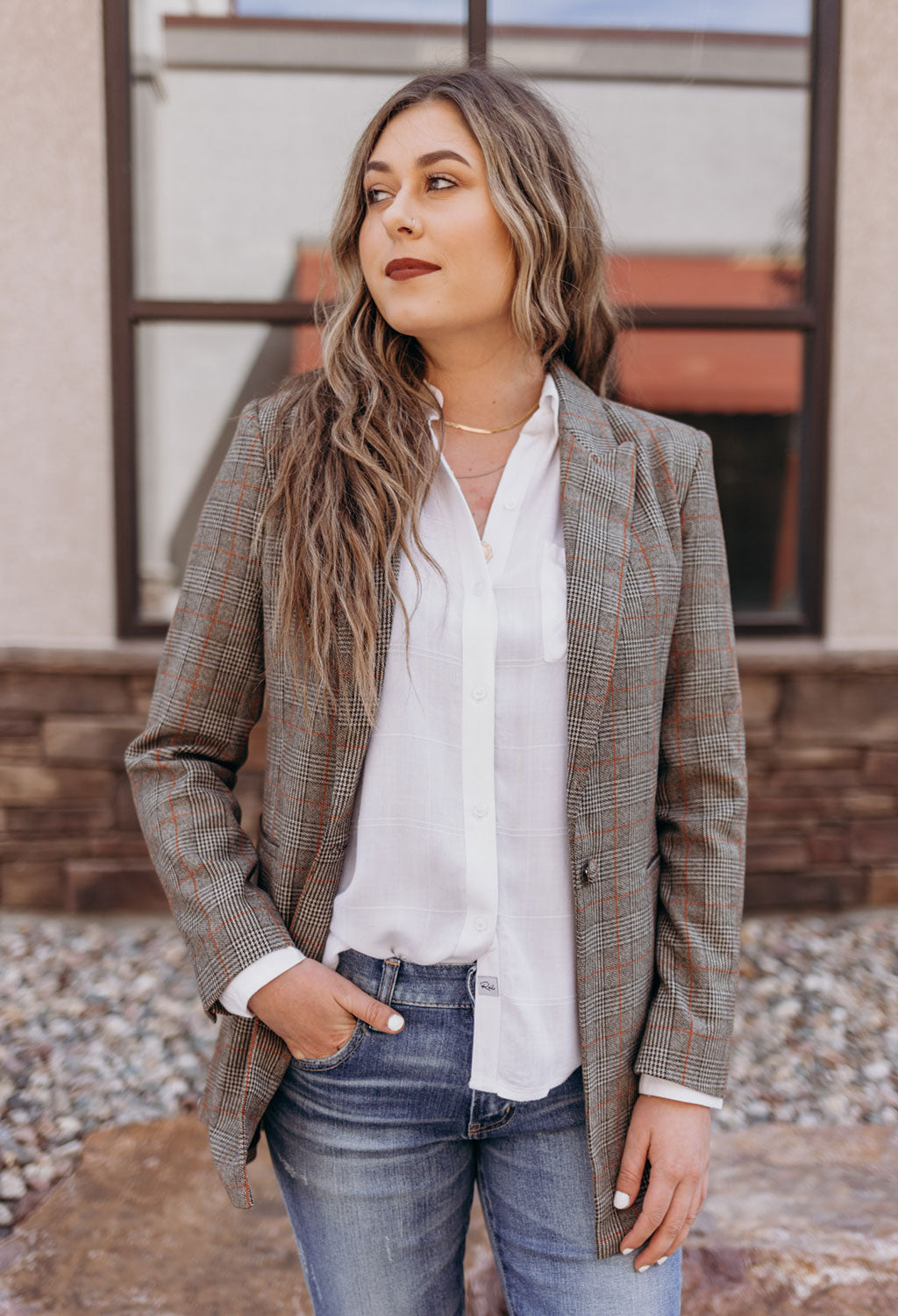 Chessa Boyfriend Plaid Blazer