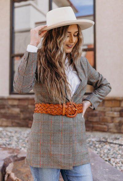 Chessa Boyfriend Plaid Blazer - RUST & Co.