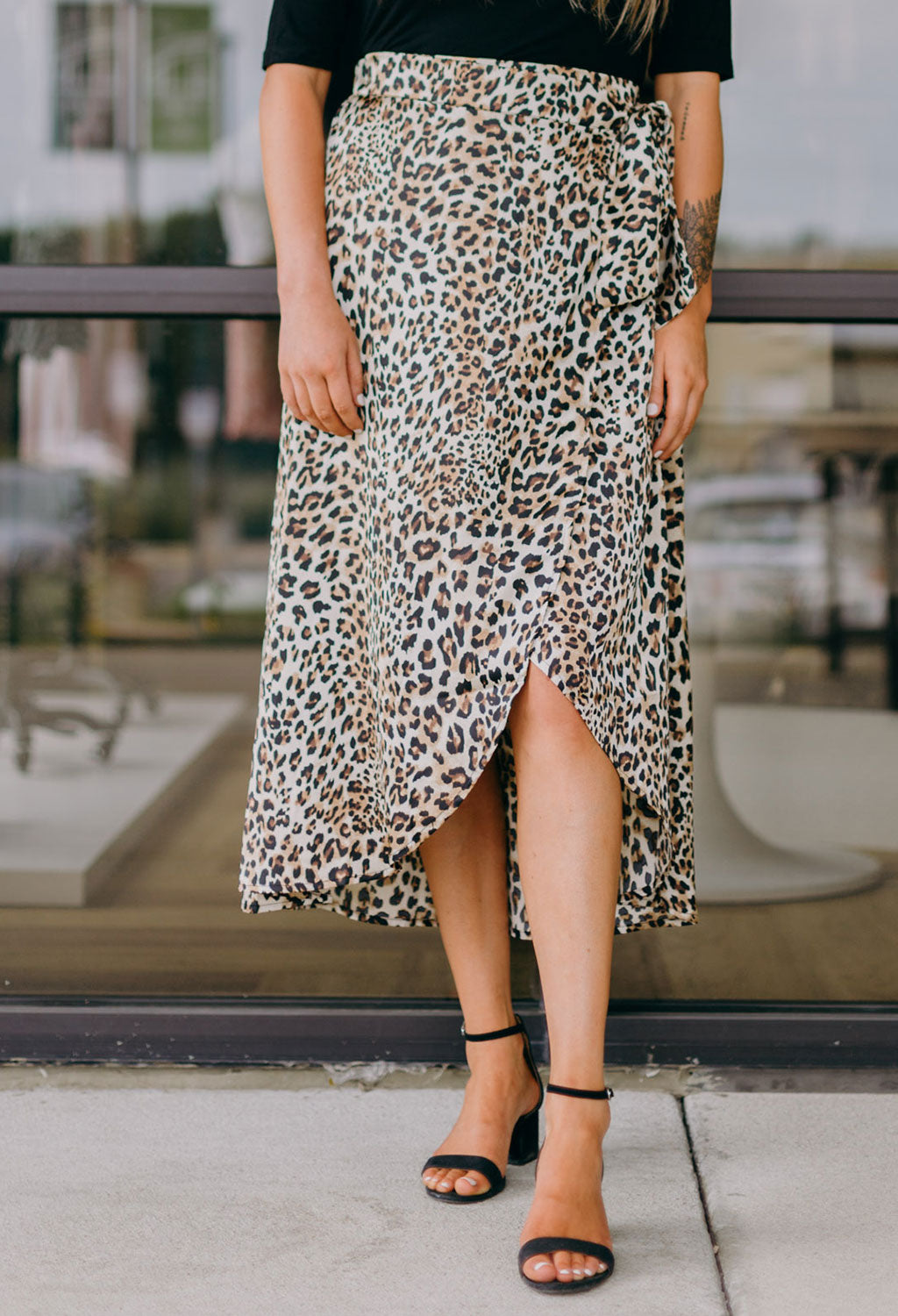 Leopard Faux Wrap Skirt