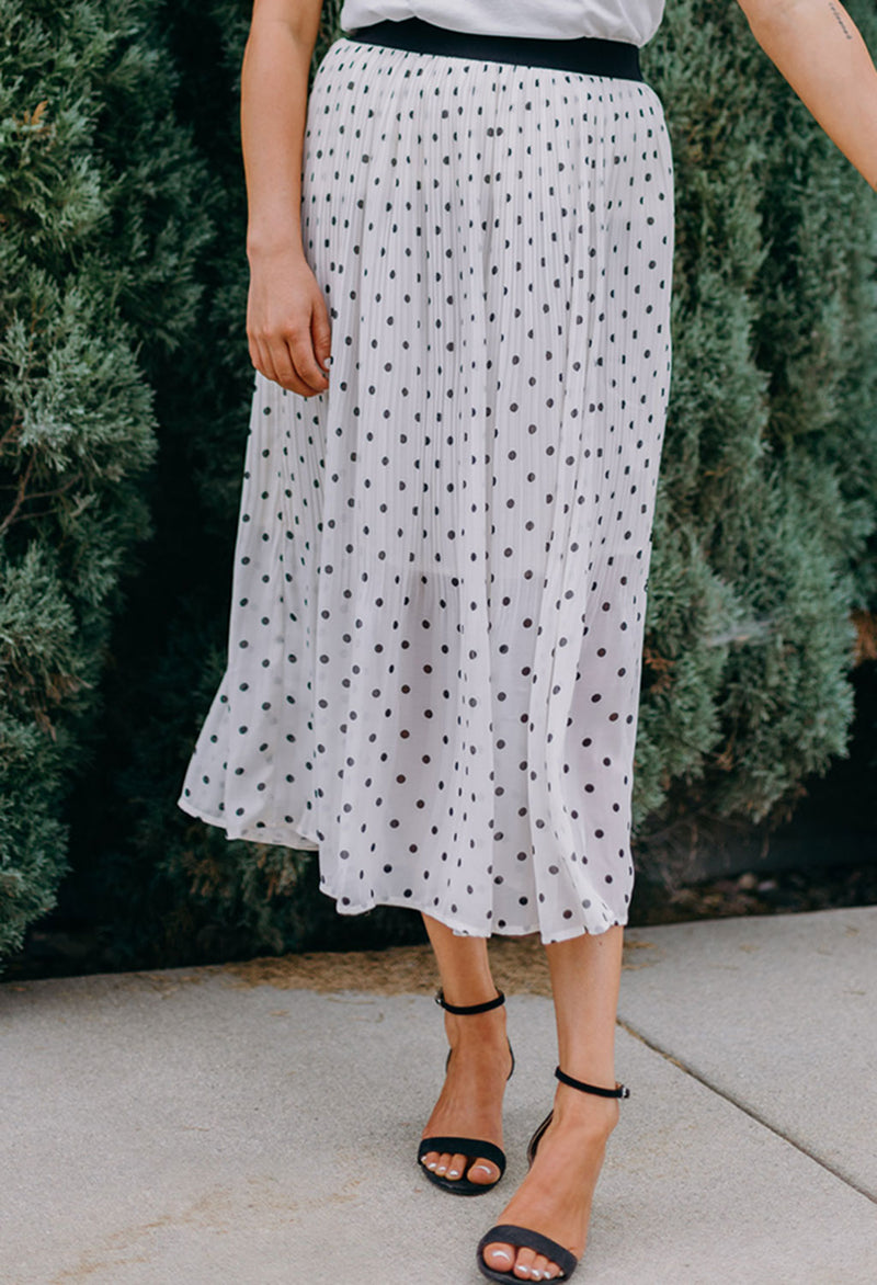 Audrey Pleated Polka Dot Skirt