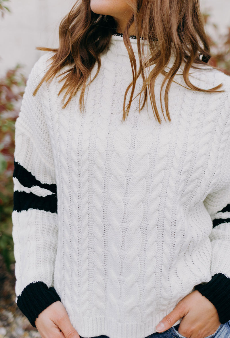 Zion Cable Knit Mock Neck