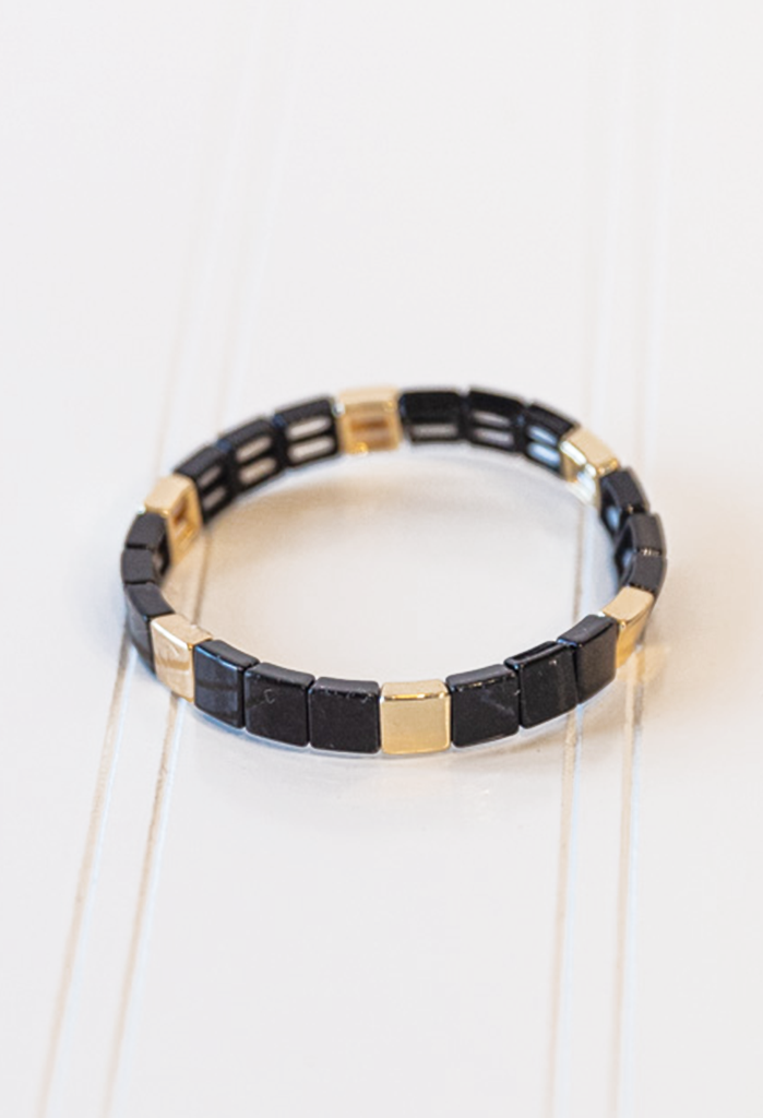 CL Tile Bead Bracelet, Black/Gold