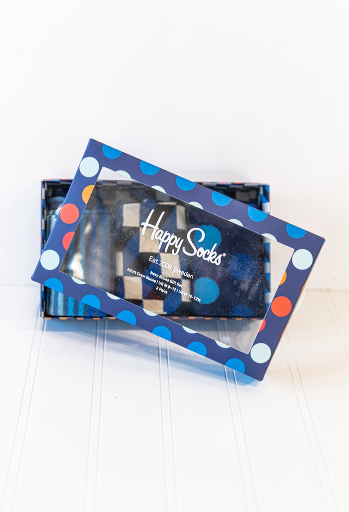 Happy Socks 3 pack Navy Dot Gift Box