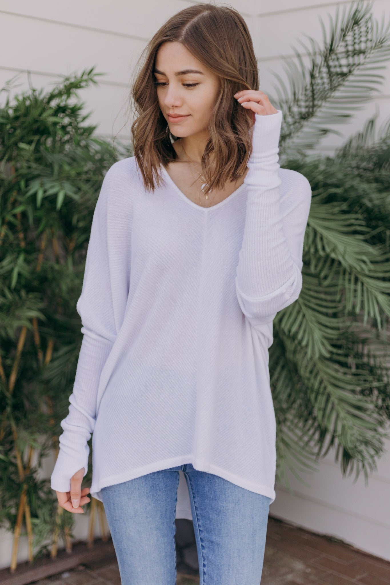 Grace Oversized V-Neck Top With Thumbhole - RUST & Co.