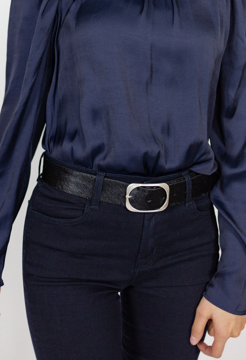 Dona Black Hair On Hide Belt