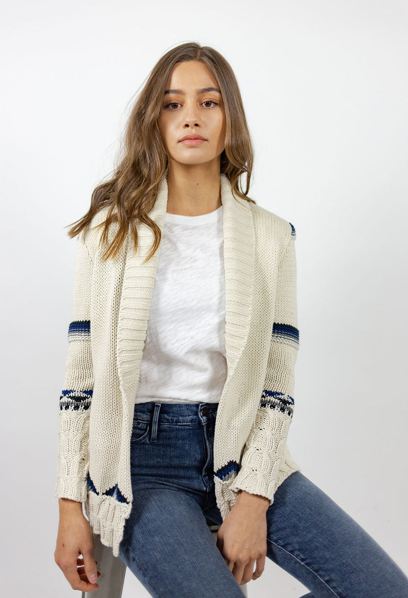 Chaser Eagle Fringe Shawl Collar Cardigan