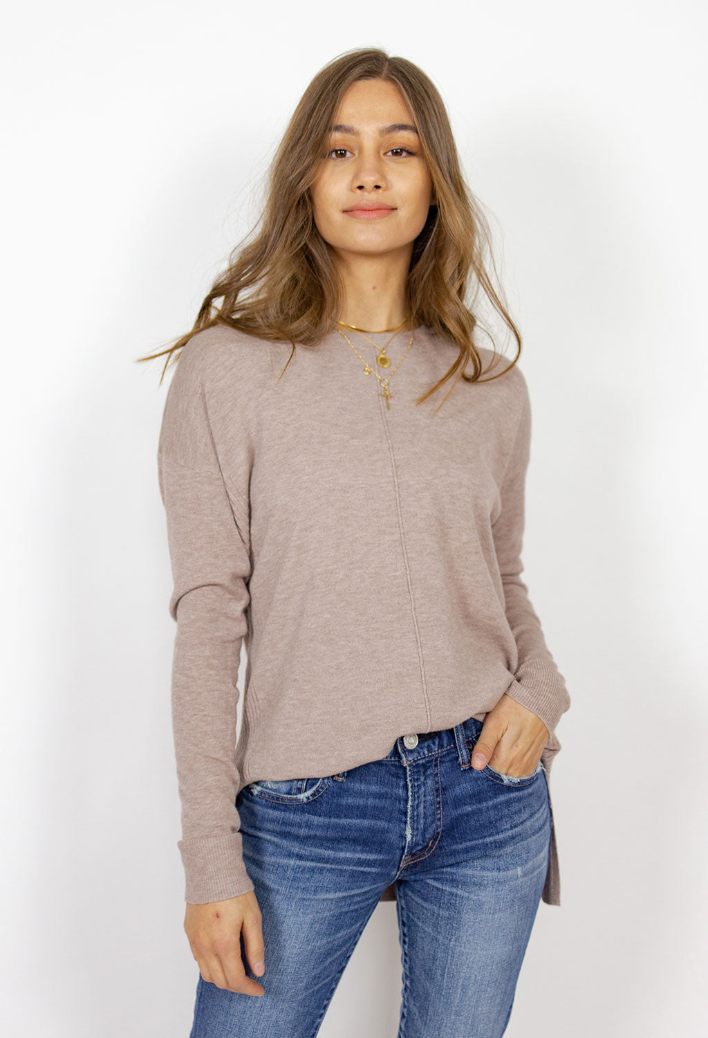 Boat Neck, Drop Shoulder, Center Seam Sweater
