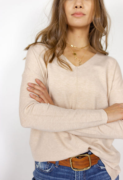 V Neck, Center Seamed Sweater - RUST & Co.