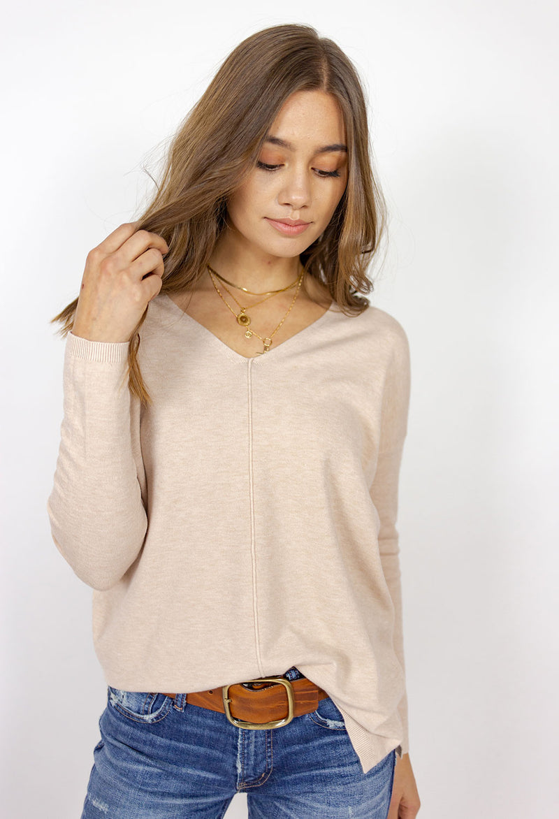 V Neck, Center Seamed Sweater