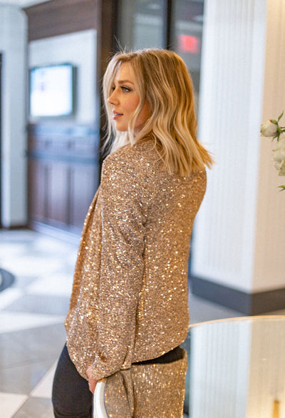 Sequin Drapey Blazer - RUST & Co.