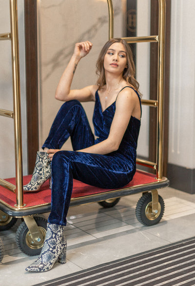 Cupcakes & Cashmere Cameo Velvet Cross Front Jumpsuit - RUST & Co.
