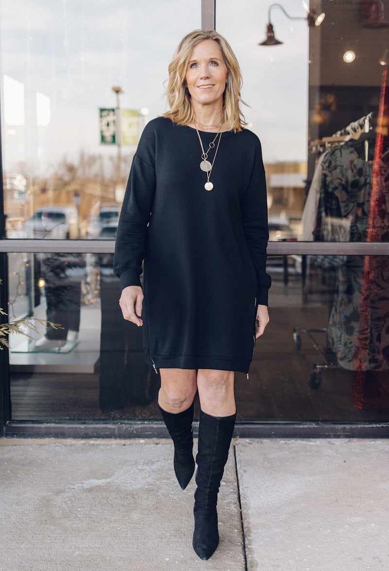 Taylor Ultra-Soft Sweatshirt Dress with Zippers