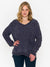 Oversized Chenille Cable V-Neck Sweater