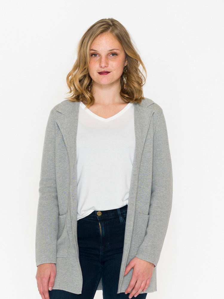 Sweater Blazer With Patch Pockets