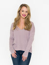 Hi-Lo V-Neck Dolman with Thumbhole Cuffs - RUST & Co.