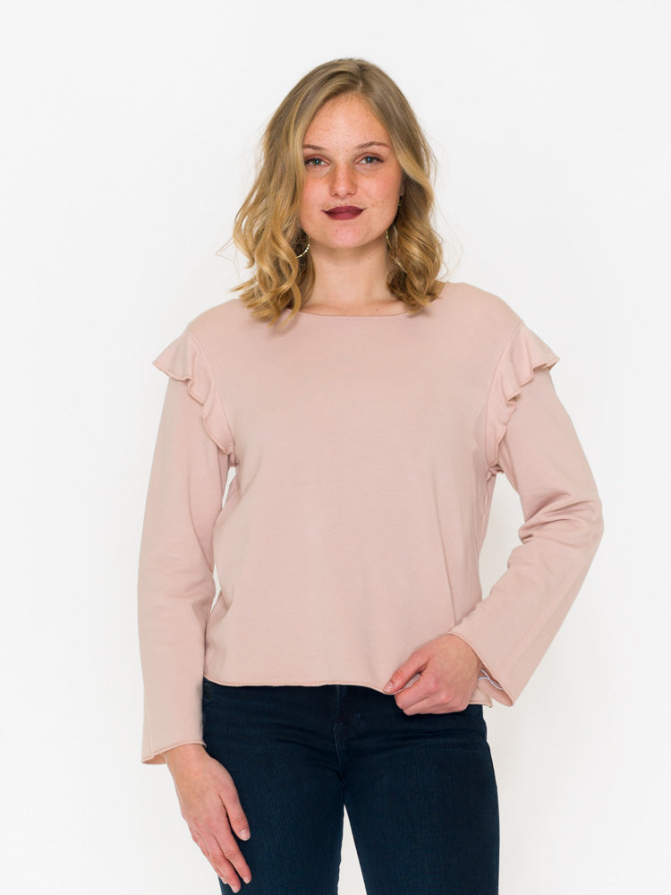 Kim Ruffle Shoulder Knit Crew