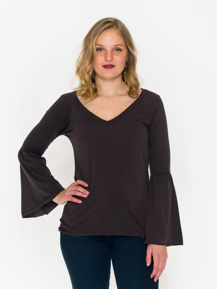 Peplum Sleeve V-neck - RUST & Co.