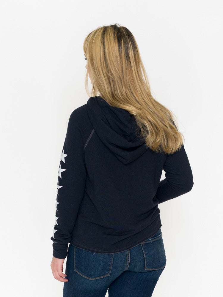Sundry Pullover Hoodie With Stars on Sleeves