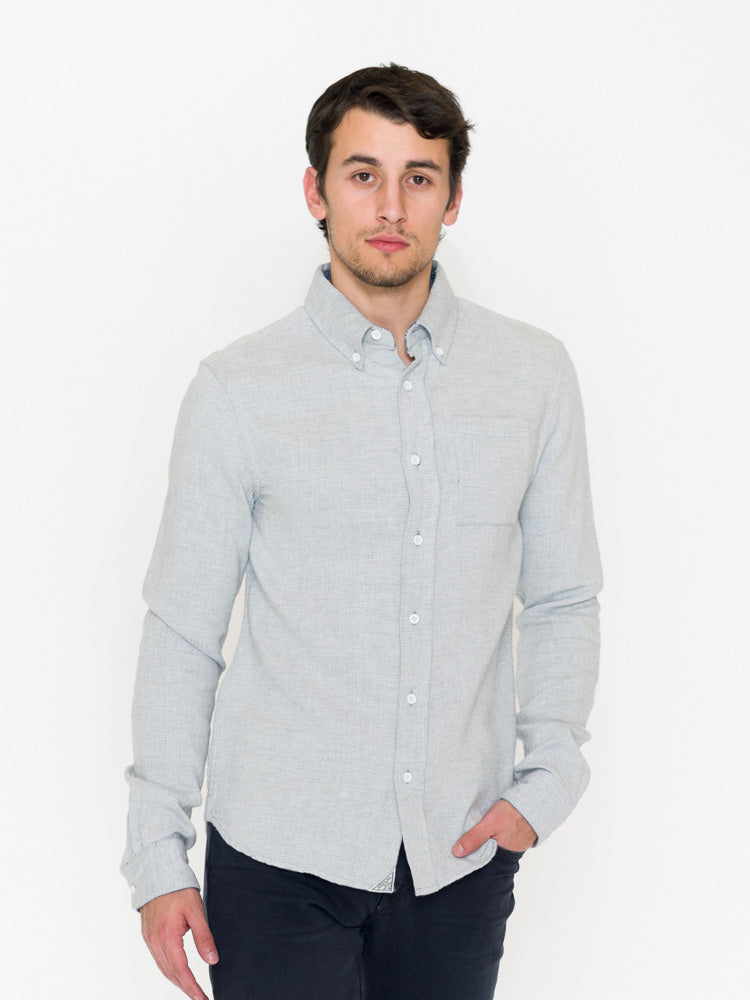 Scotch & Soda Brushed Melange Cotton Button Front