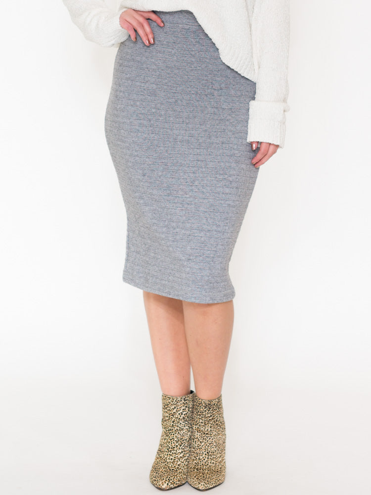 Cora Ribbed Knit Midi Skirt