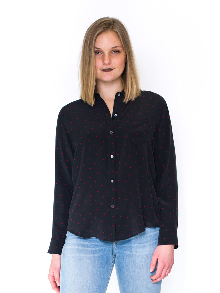 Rails Kate Silk Button Front Shirt With Hearts