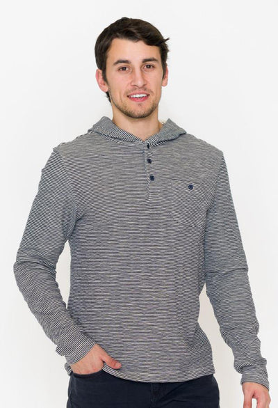 Long Sleeve Pullover Hoodie With Button Placket & Hood - RUST & Co.