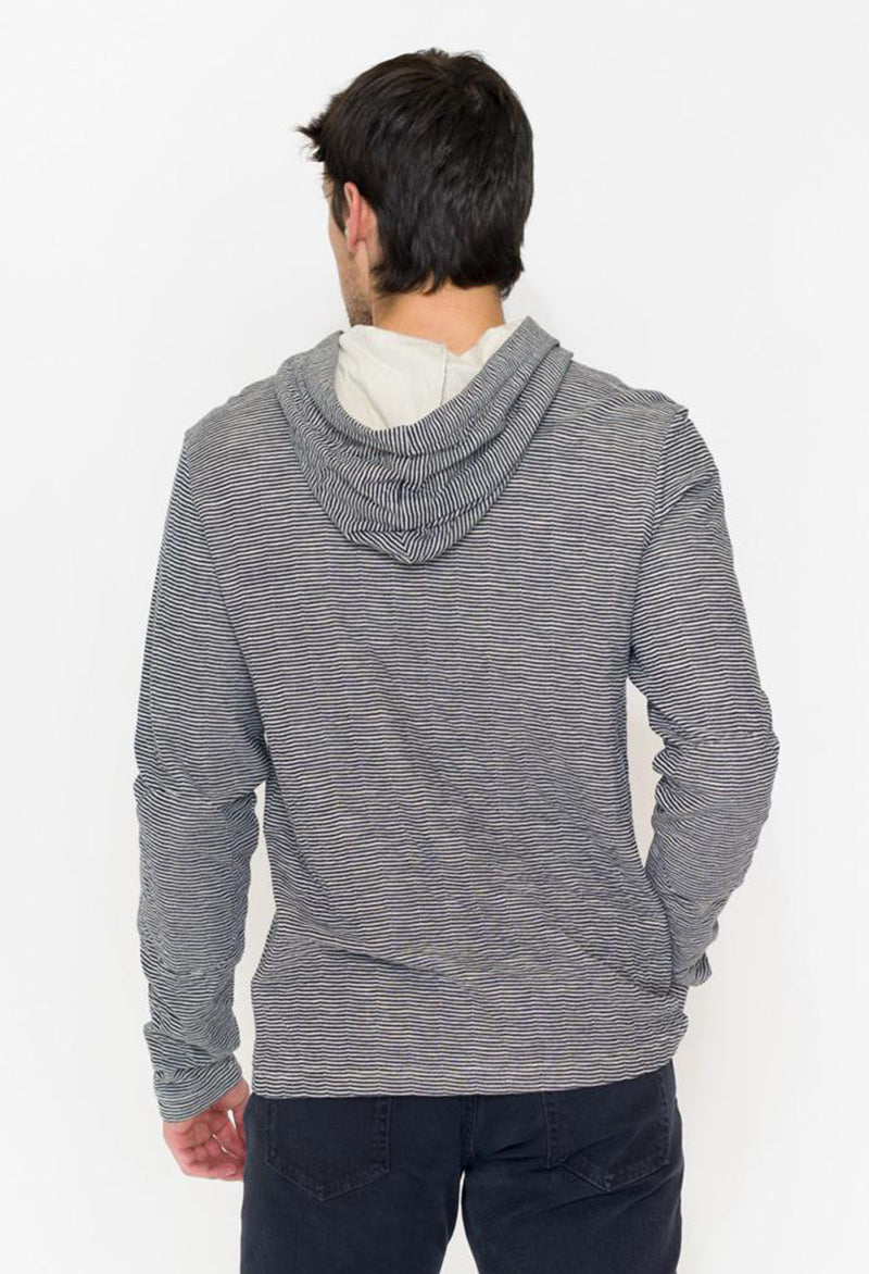 Long Sleeve Pullover Hoodie With Button Placket & Hood