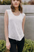 Linen Jersey Scoop-neck Cap Sleeve Top