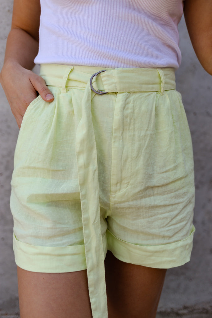 Joie Dixon Linen Shorts, Shadow Lime