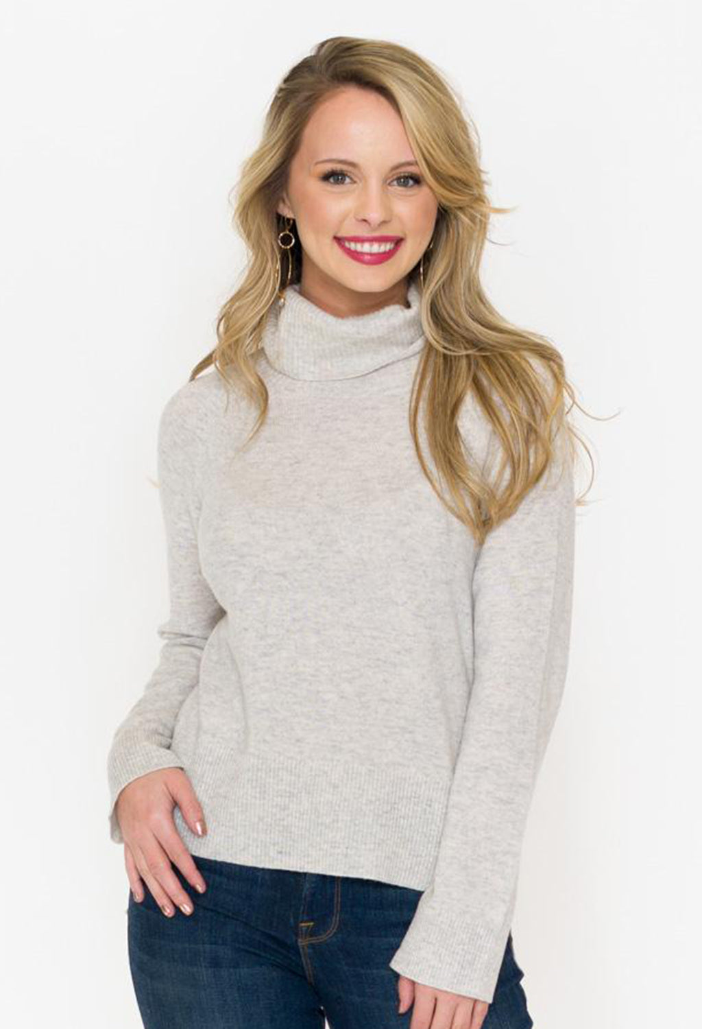 Merino/Cashmere Turtle Neck Rib Sweater