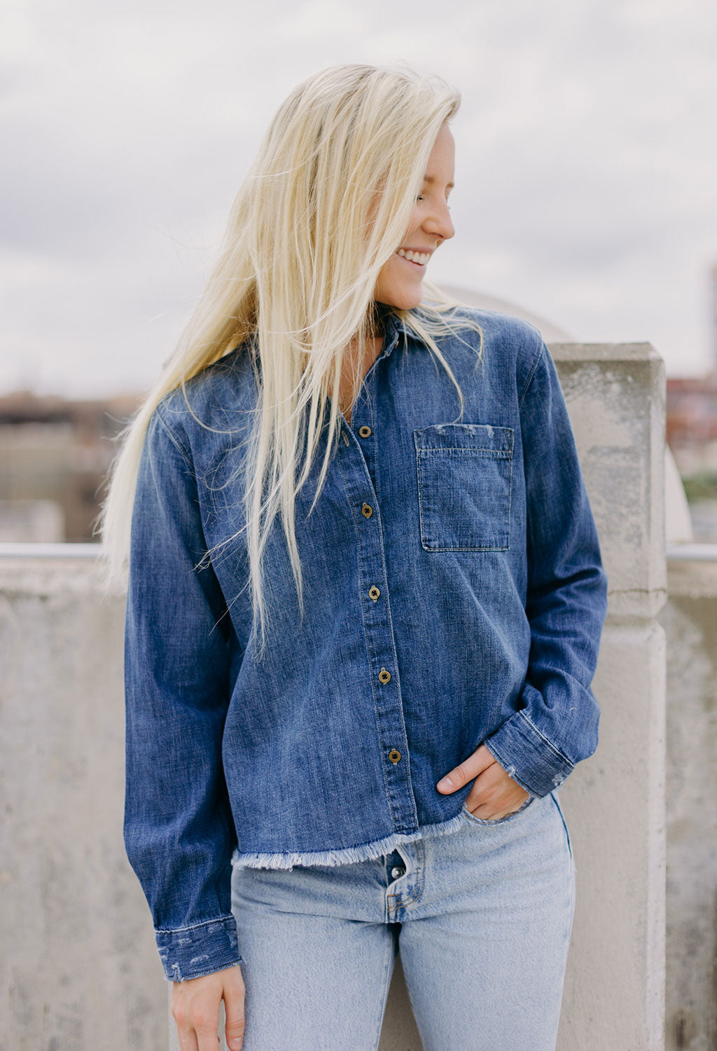 Maya Denim Fray Shirt