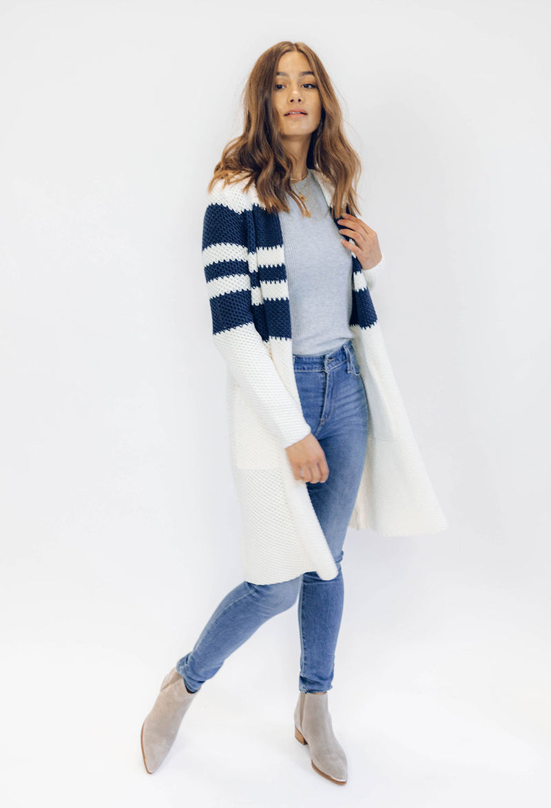 Chaser Think Knit Hooded Duster Cardigan Sweater