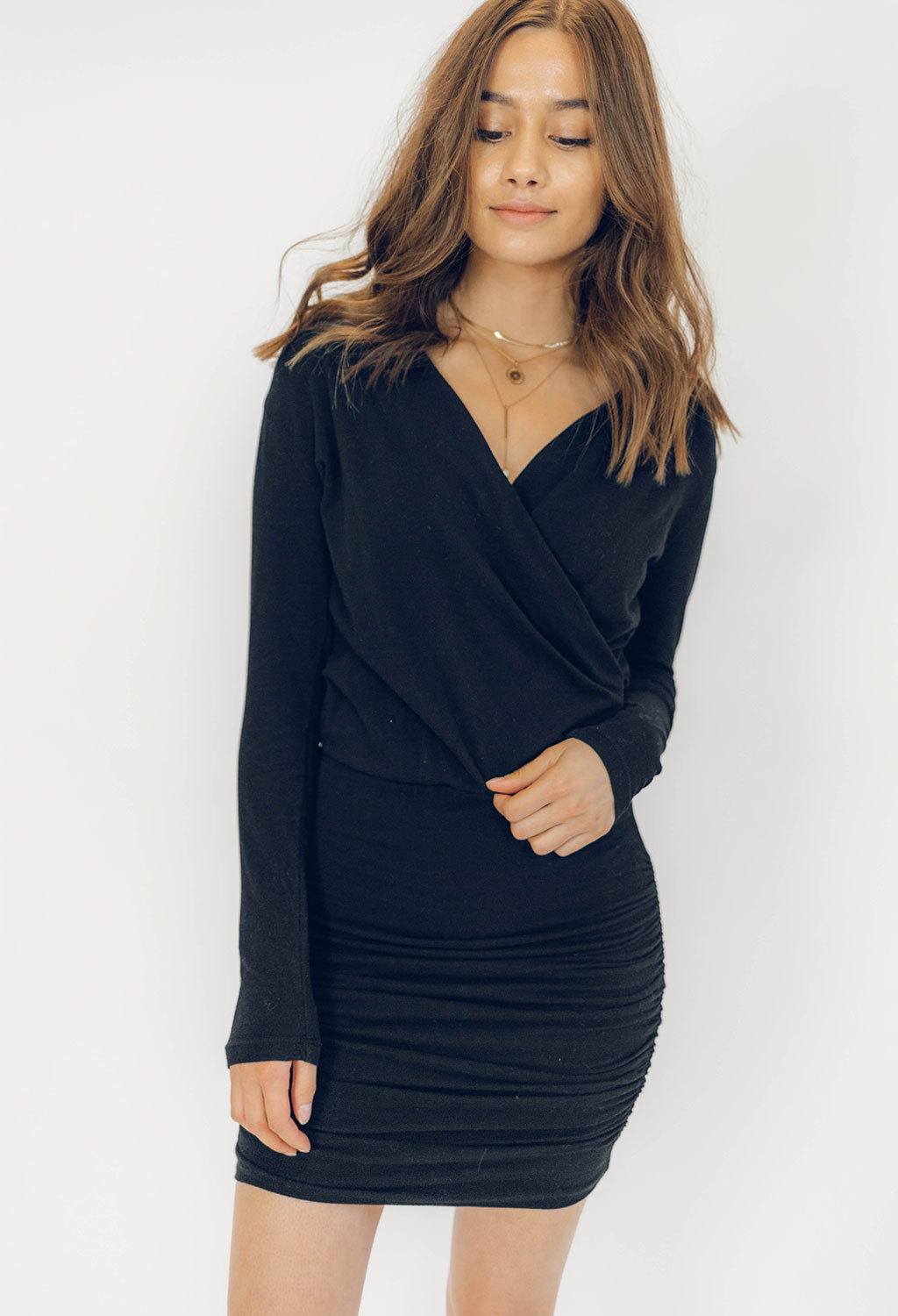 Sundry Long Sleeve Surplice Dress