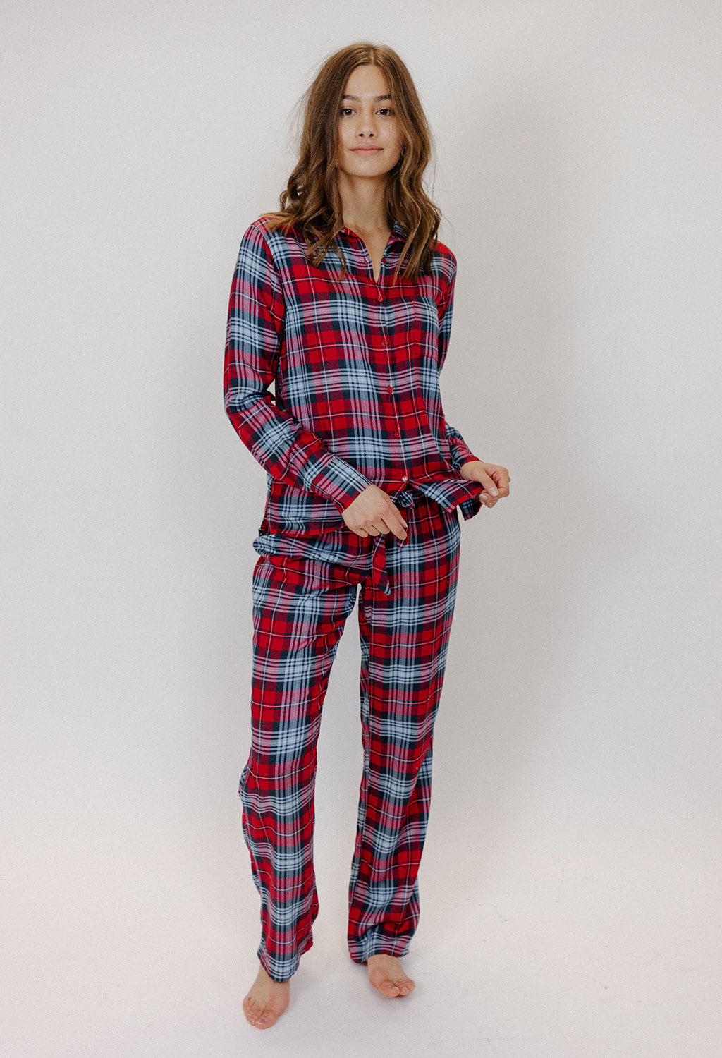 PJ Salvage Snowed in Red Plaid Set