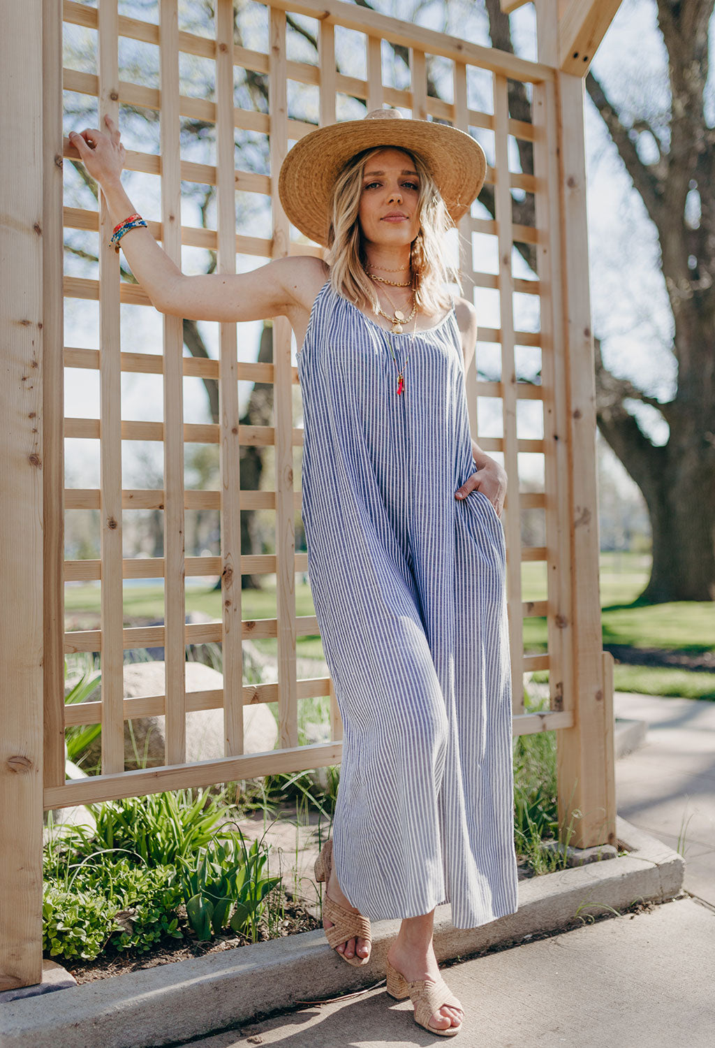 Taylor Striped Sleeveless Jumpsuit