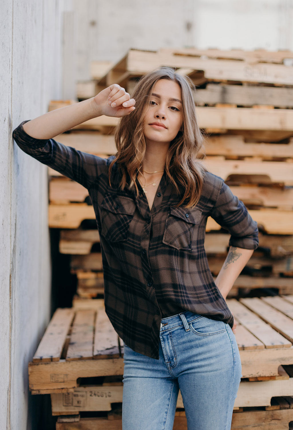 Rails Brent Olive Check Plaid - RUST & Co.