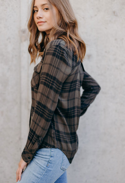Rails Brent Olive Check Plaid
