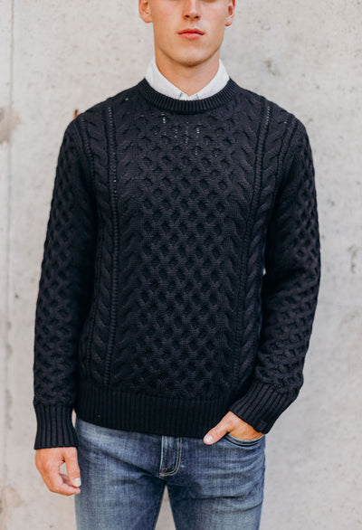Rag & Bone Aran Crew Neck Cable Knit Sweater - RUST & Co.