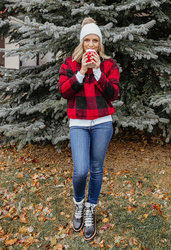 Willow Buffalo Plaid Sherpa Pullover