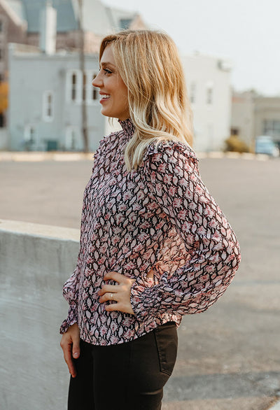 Sierra Smocked Mock Neck Top
