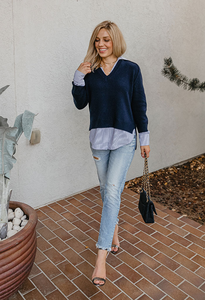 Brochu Walker V-Neck Stripe Layered Pullover