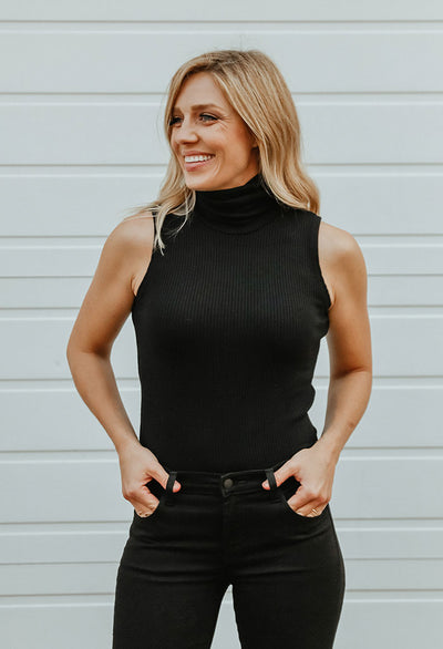Brea Ribbed Sleeveless Turtleneck
