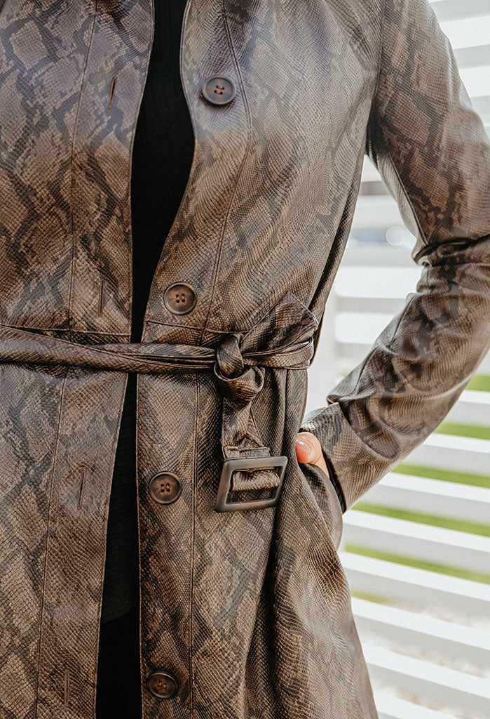Cupcakes & Cashmere Julian Snakeskin Trench