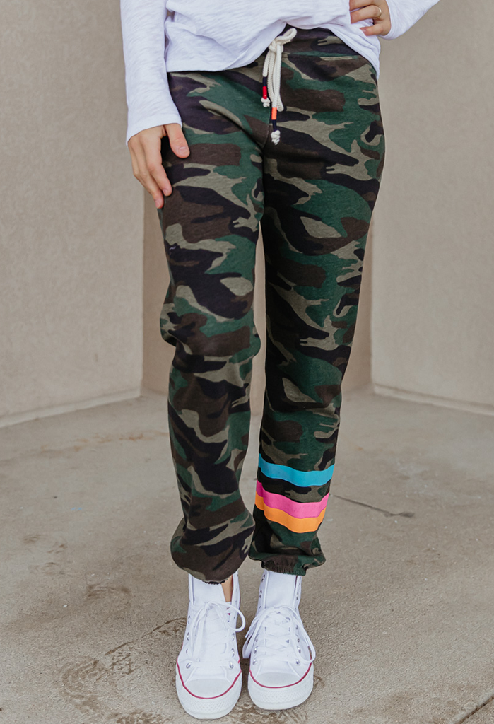 Sundry Dark Camo Jogger w/ Stripes
