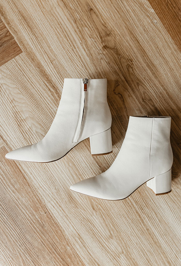 PRE-ORDER Marc Fisher Jarli Leather Bootie, Ivory
