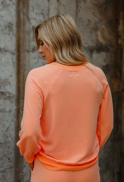 Sundry Pigment Dyed Shirred Cuff Sweatshirt