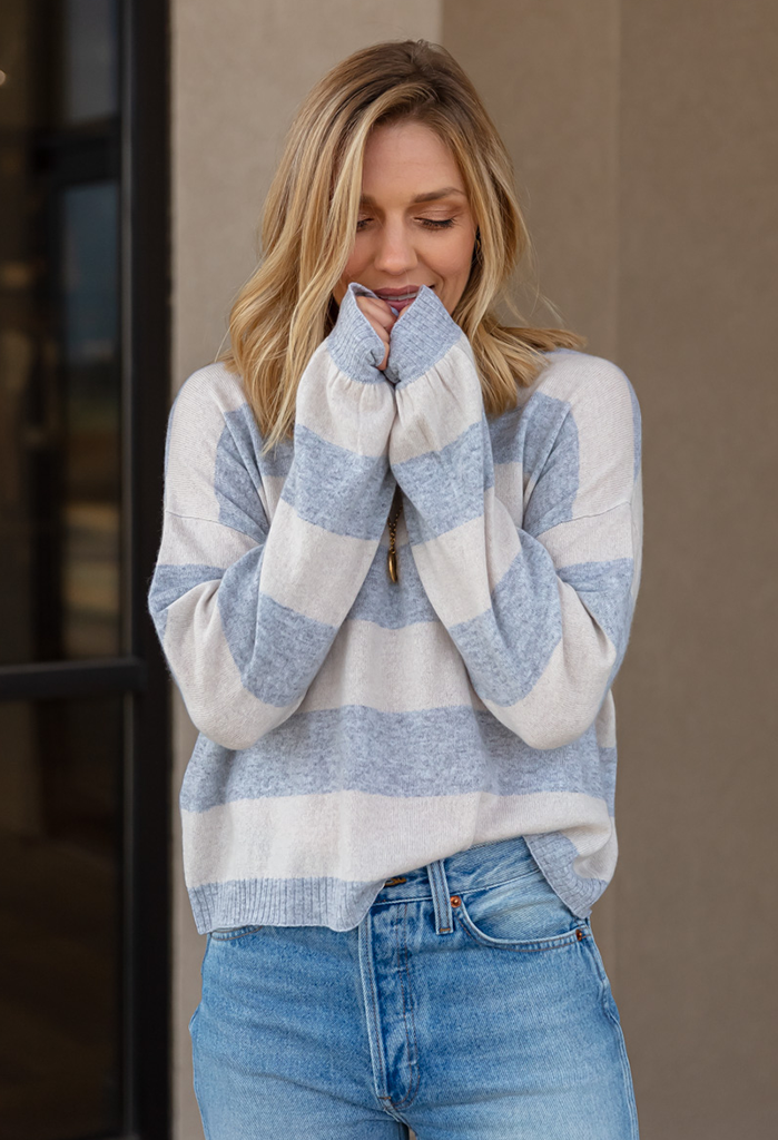 Bella Dahl Cashmere Striped Crew